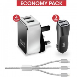 Xcell 3 in 1  Economy Charger Pack White/Black