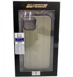 Ferrari Leather Hard Case With Embossed Lines For Apple iPhone 11 Pro  Beige