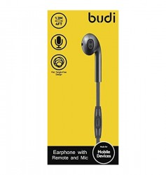 BUDI M8J101EP SINGLE EARPHONE WITH REMOTE AND MIC BLK