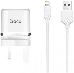Hoco C12B Smart Dual Ports Charger Set With Lightning Cable 2.4A