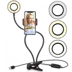 Cell Phone Holder with Selfie Ring Light for Live Stream, Dimmable 3 Light Mode with Flexible Arms Phone Clip Holder Lazy Bracket Desk Lamp for Makeup,