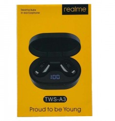 Realme A3 TWS Airdots Earbuds Airpods High Bass and HD Sound stylish LED Display Earbuds
