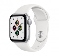 Apple Watch SE GPS, 40mm Silver Aluminum Case with White Sport Band