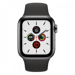 Apple Watch Series 5 GPS + Cellular 44mm Space Black Stainless Steel Case with Black Sport Band