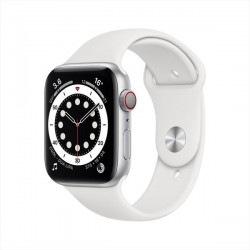 Apple Watch SE (GPS + Cellular, 44mm) - Silver Aluminium Case with White Sport Band